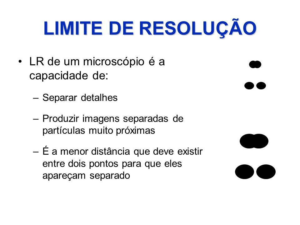 LIMITE DE RESOLUÇÃO LR de um microscópio é a capacidade de:
