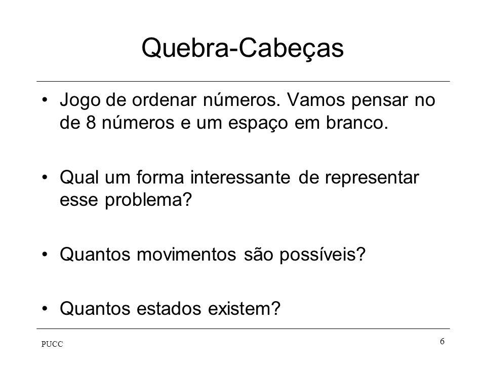 Quebra-Cabeças Jogo de ordenar números. Vamos pensar no de 8 números e um espaço em branco. Qual um forma interessante de representar esse problema
