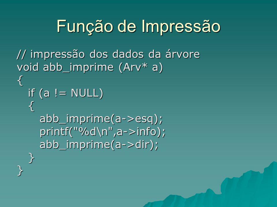 Função de Impressão // impressão dos dados da árvore
