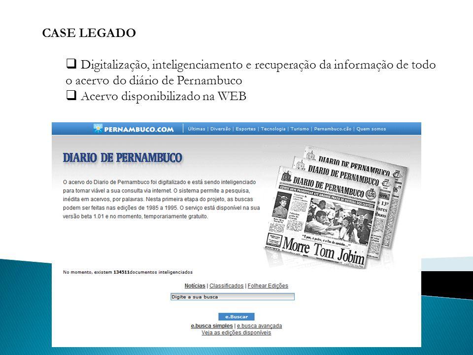 CASE LEGADO Digitalização, inteligenciamento e recuperação da informação de todo o acervo do diário de Pernambuco.