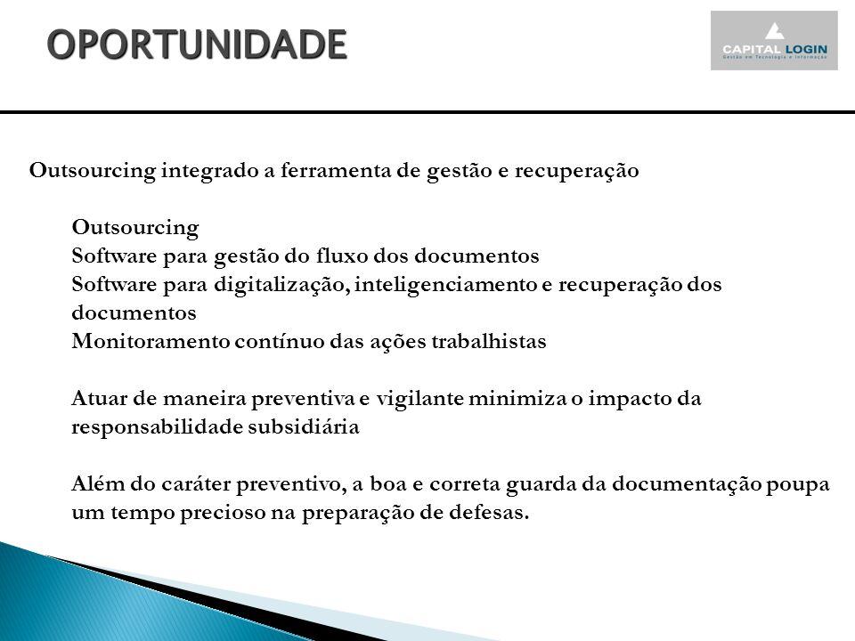 OPORTUNIDADE Outsourcing integrado a ferramenta de gestão e recuperação. Outsourcing. Software para gestão do fluxo dos documentos.