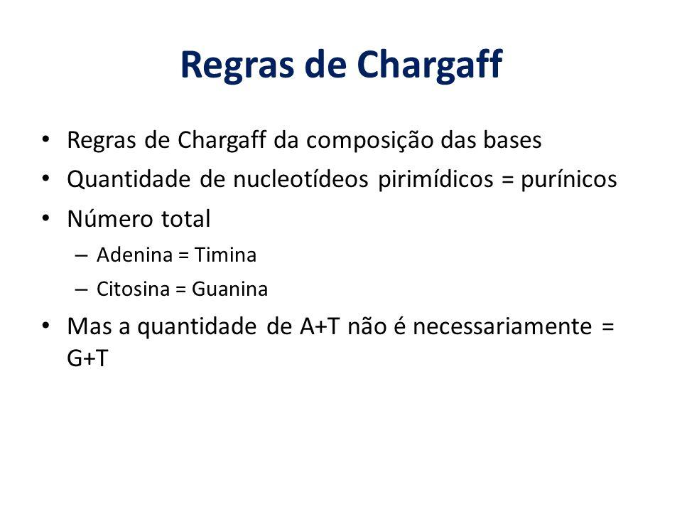 Regras de Chargaff Regras de Chargaff da composição das bases