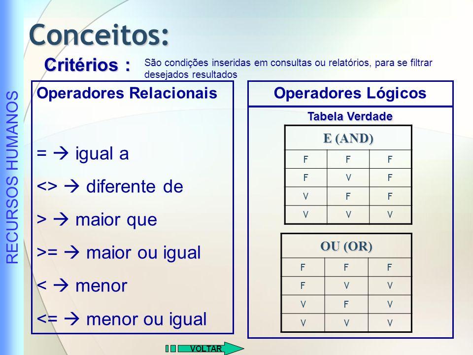 Conceitos: Critérios : =  igual a <>  diferente de