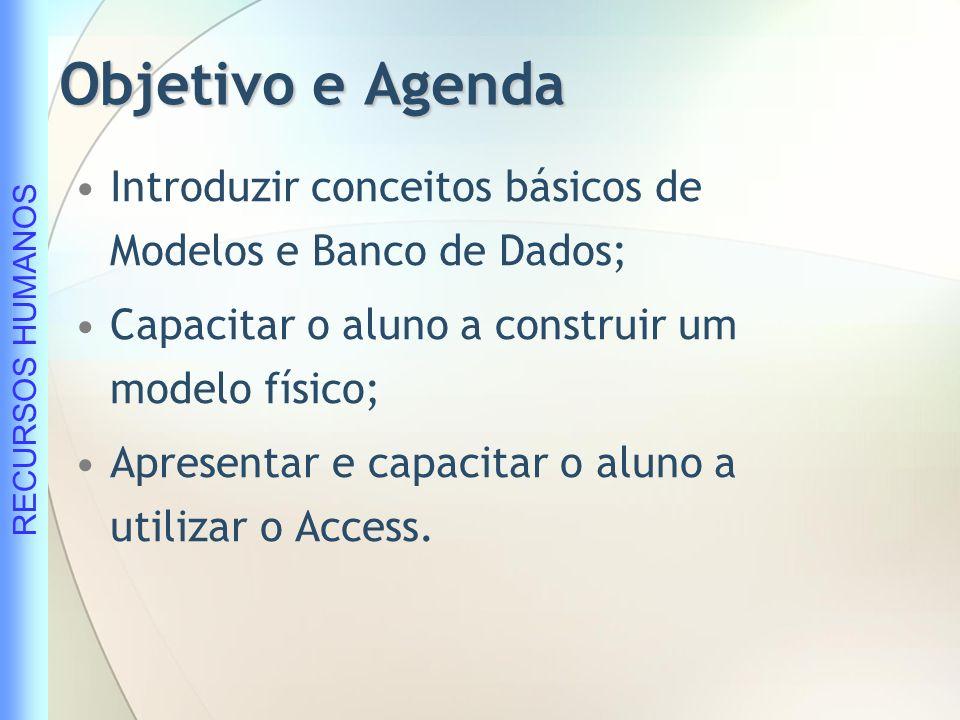 Objetivo e Agenda Introduzir conceitos básicos de Modelos e Banco de Dados; Capacitar o aluno a construir um modelo físico;