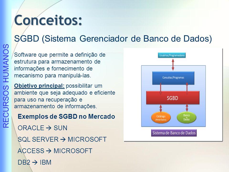 Conceitos: SGBD (Sistema Gerenciador de Banco de Dados)