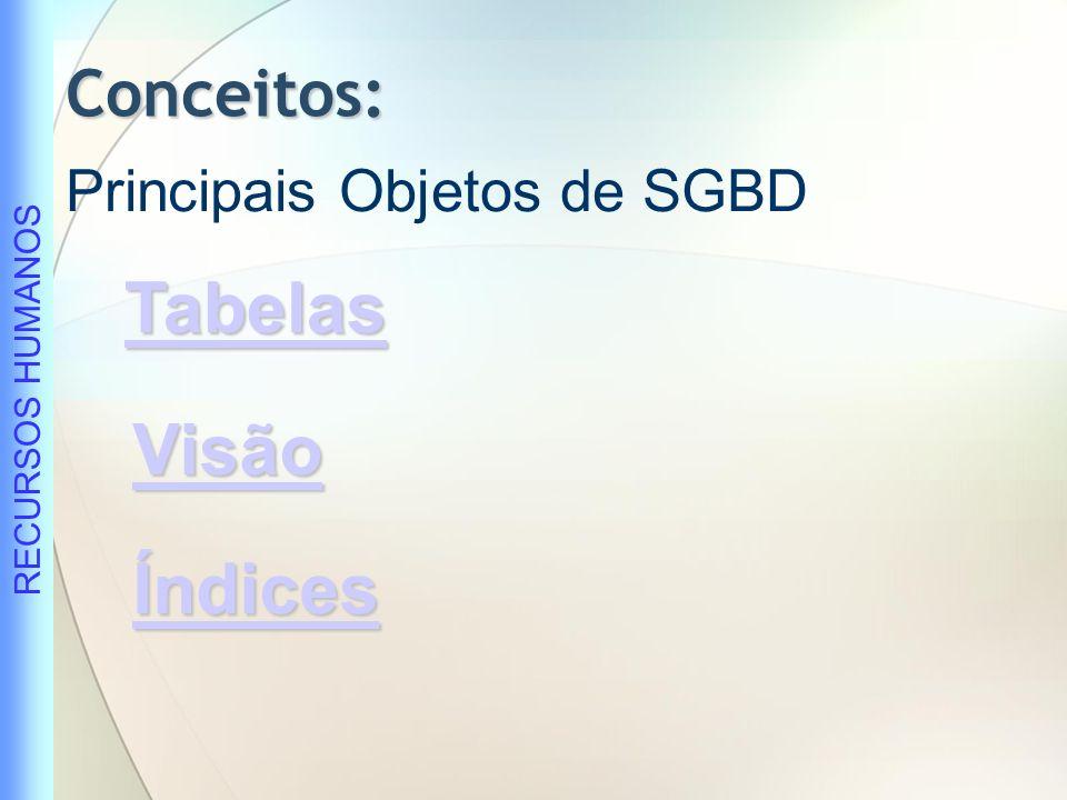 Conceitos: Principais Objetos de SGBD Tabelas Visão Índices