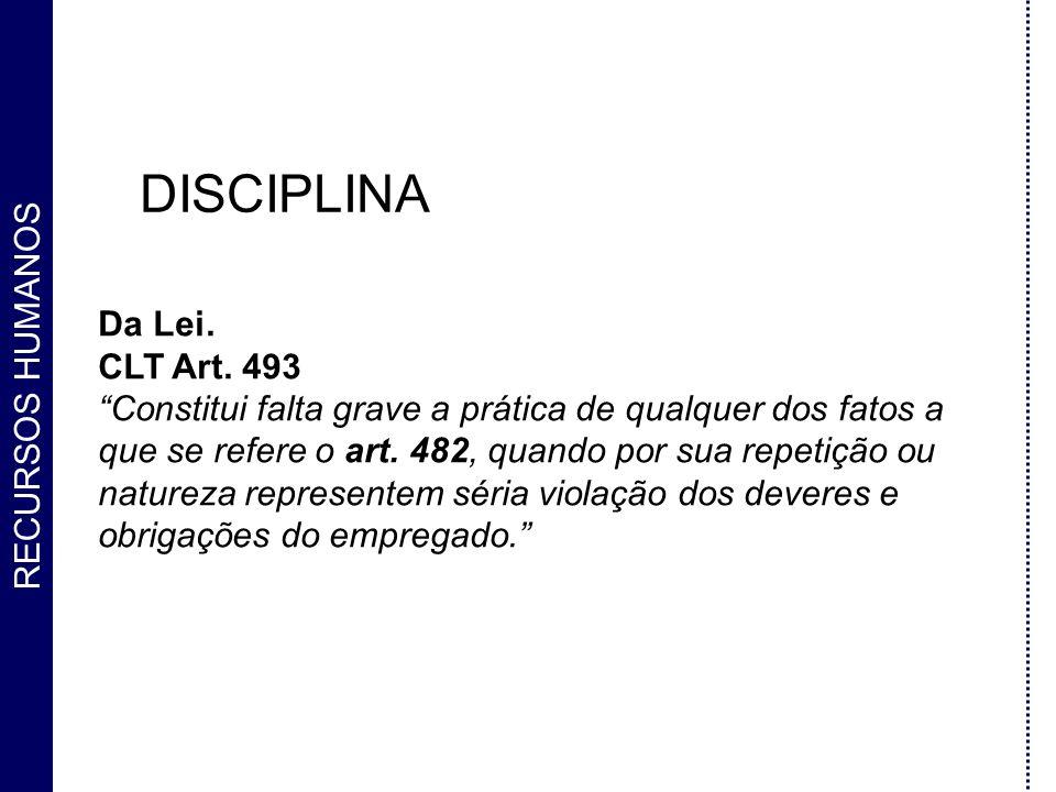 DISCIPLINA Da Lei. CLT Art. 493