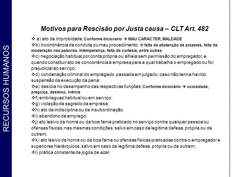 Motivos para Rescisão por Justa causa – CLT Art. 482