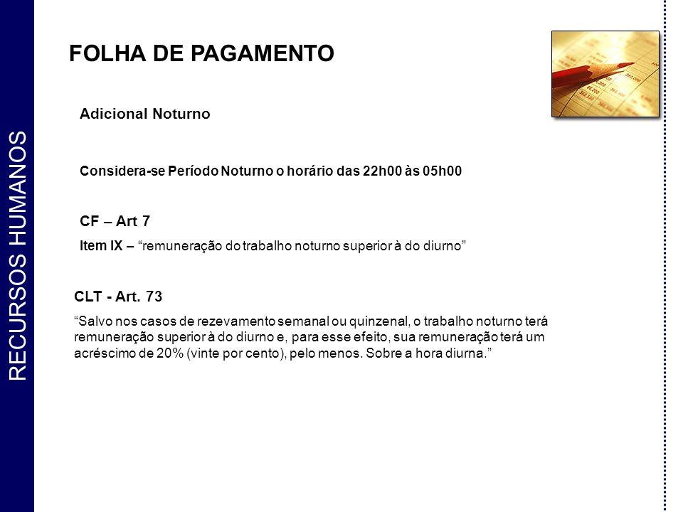 FOLHA DE PAGAMENTO Adicional Noturno CF – Art 7 CLT - Art. 73