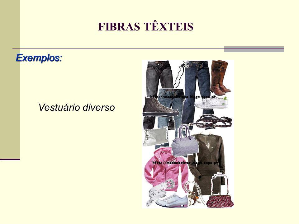 FIBRAS TÊXTEIS Exemplos: Vestuário diverso