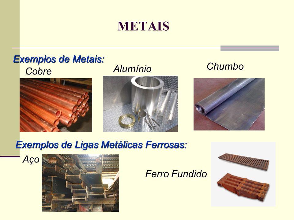 METAIS Exemplos de Metais: Chumbo Alumínio Cobre