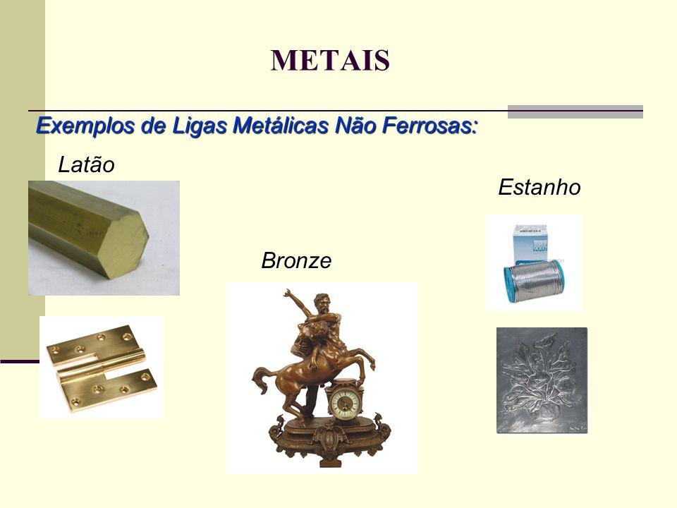 METAIS Exemplos de Ligas Metálicas Não Ferrosas: Latão Estanho Bronze
