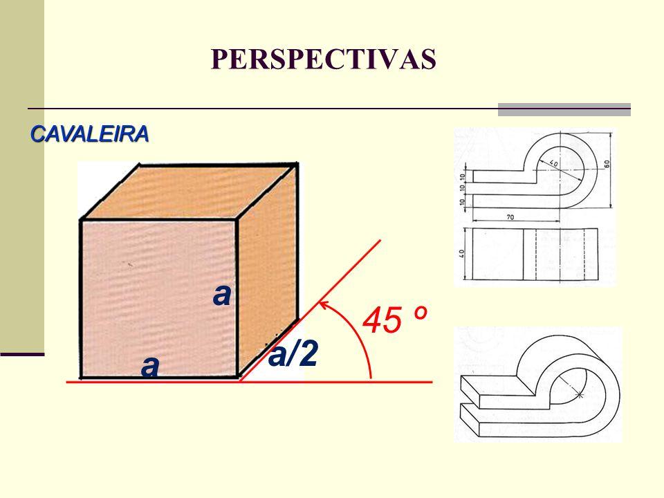 PERSPECTIVAS CAVALEIRA a 45 º a/2 a