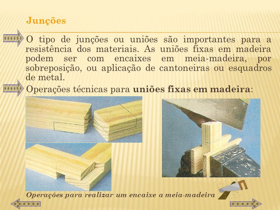 Operações técnicas para uniões fixas em madeira: