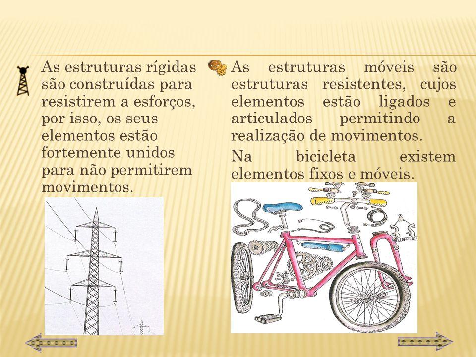 Na bicicleta existem elementos fixos e móveis.