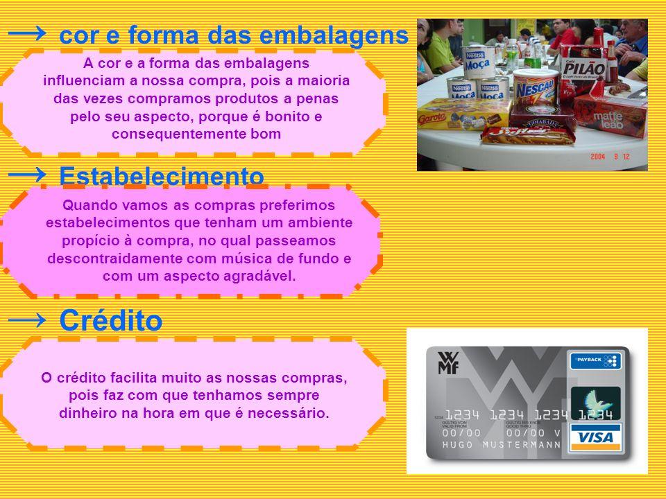 → cor e forma das embalagens → Estabelecimento
