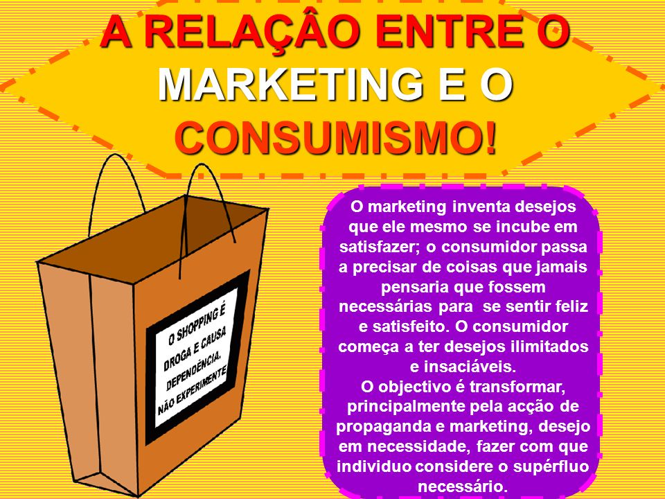 A RELAÇÂO ENTRE O MARKETING E O CONSUMISMO!