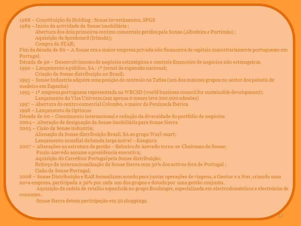 1988 – Constituição da Holding : Sonae investimentos, SPGS