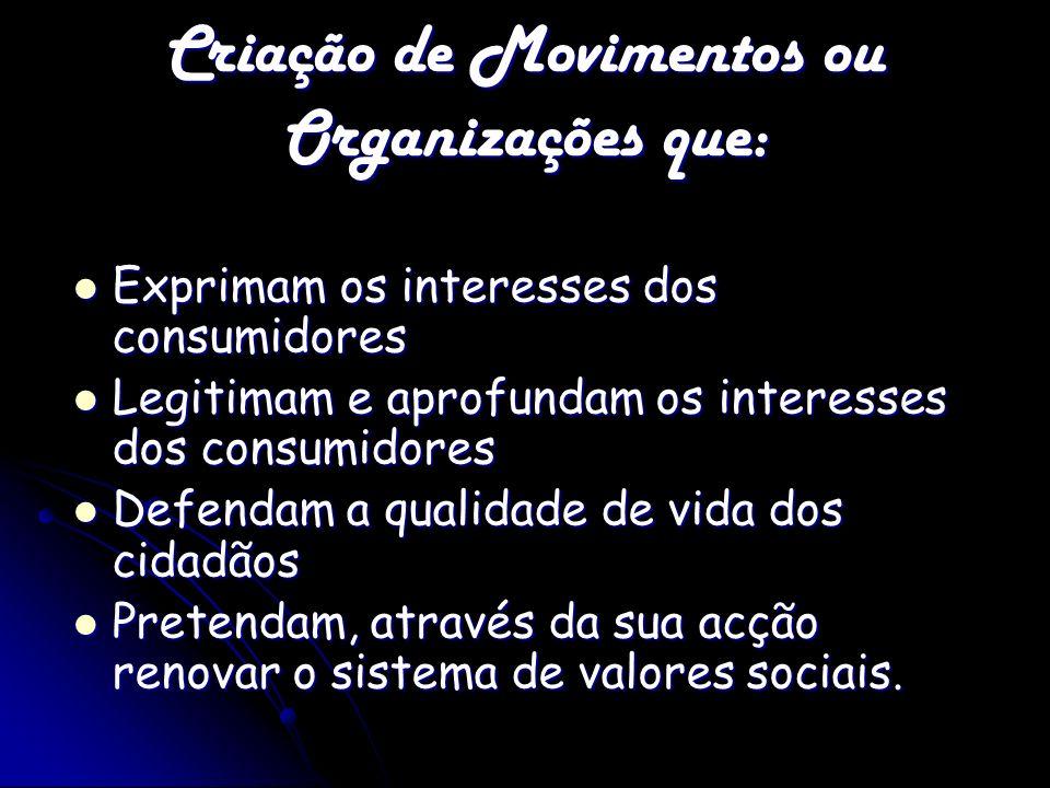 Criação de Movimentos ou Organizações que: