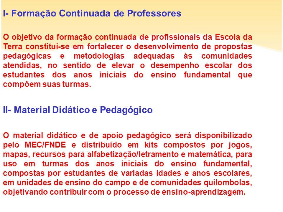 I- Formação Continuada de Professores