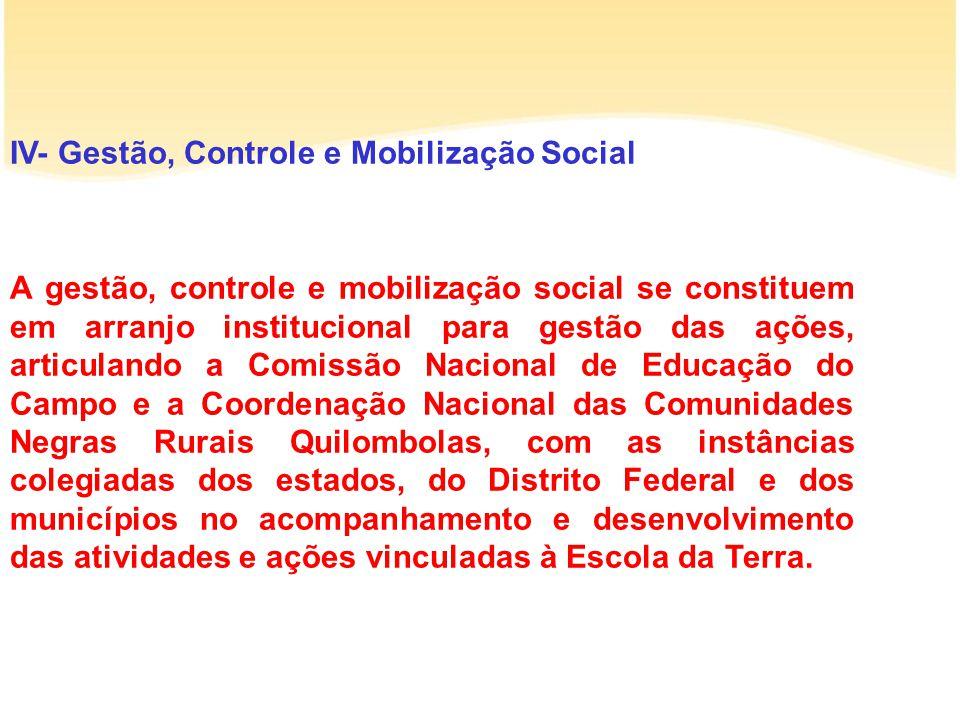 IV- Gestão, Controle e Mobilização Social