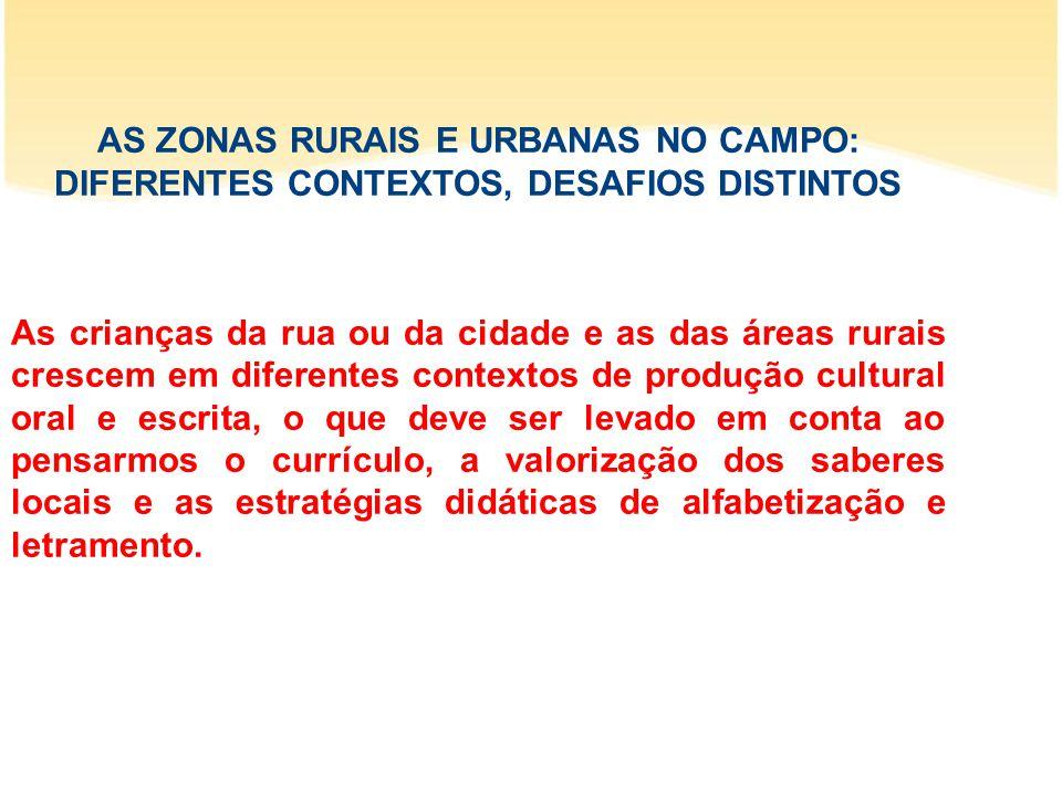 AS ZONAS RURAIS E URBANAS NO CAMPO: DIFERENTES CONTEXTOS, DESAFIOS DISTINTOS