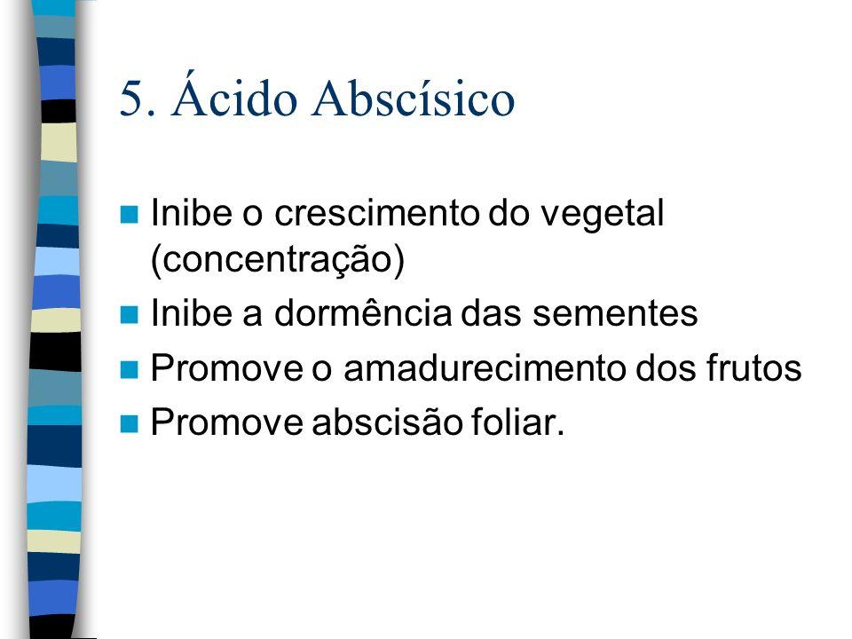 5. Ácido Abscísico Inibe o crescimento do vegetal (concentração)