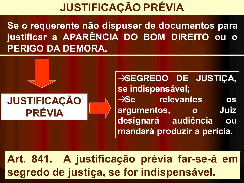 JUSTIFICAÇÃO PRÉVIA Se o requerente não dispuser de documentos para justificar a APARÊNCIA DO BOM DIREITO ou o PERIGO DA DEMORA.