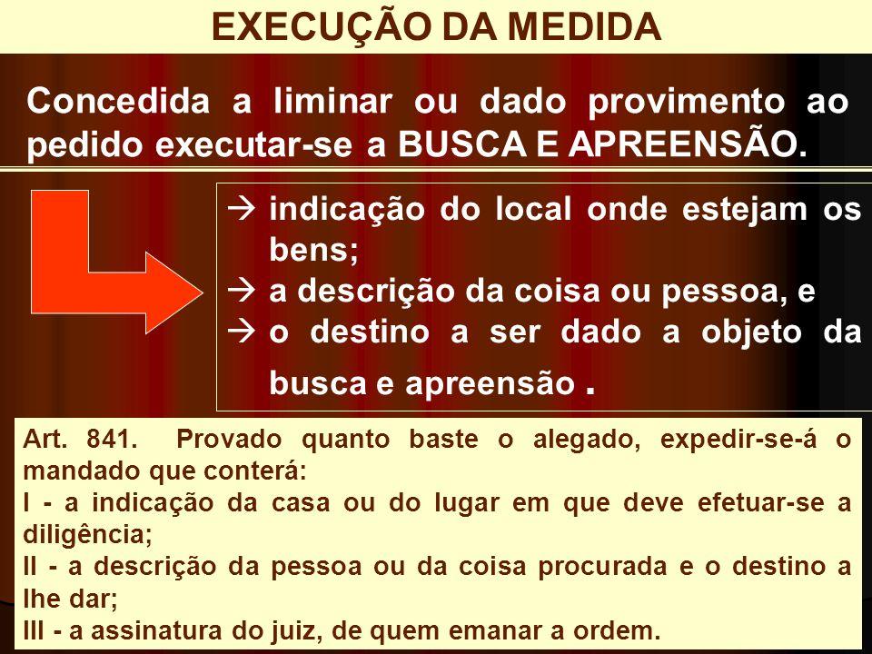 EXECUÇÃO DA MEDIDA Concedida a liminar ou dado provimento ao pedido executar-se a BUSCA E APREENSÃO.