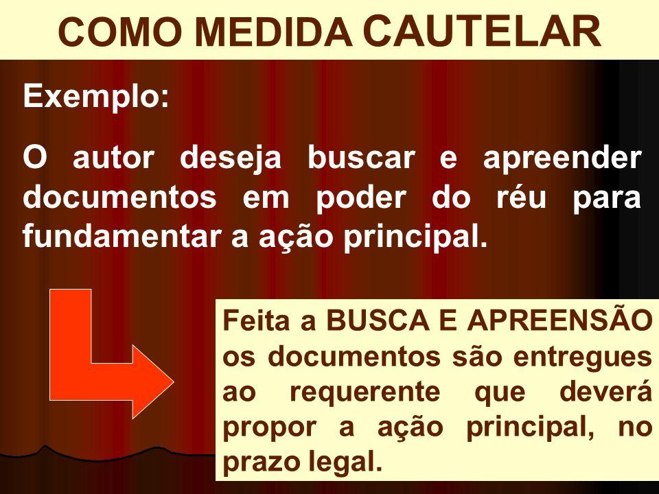 COMO MEDIDA CAUTELAR Exemplo: