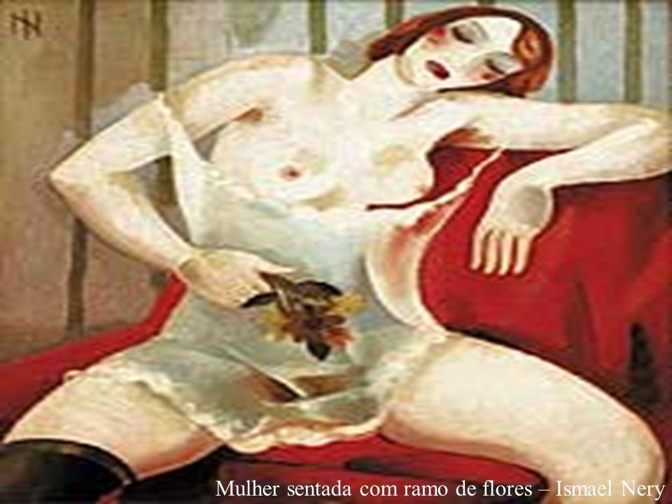 Mulher sentada com ramo de flores – Ismael Nery
