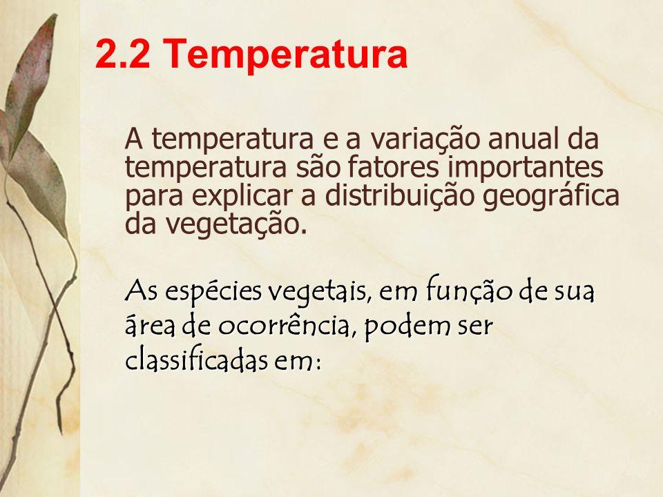 2.2 TemperaturaA temperatura e a variação anual da temperatura são fatores importantes para explicar a distribuição geográfica da vegetação.