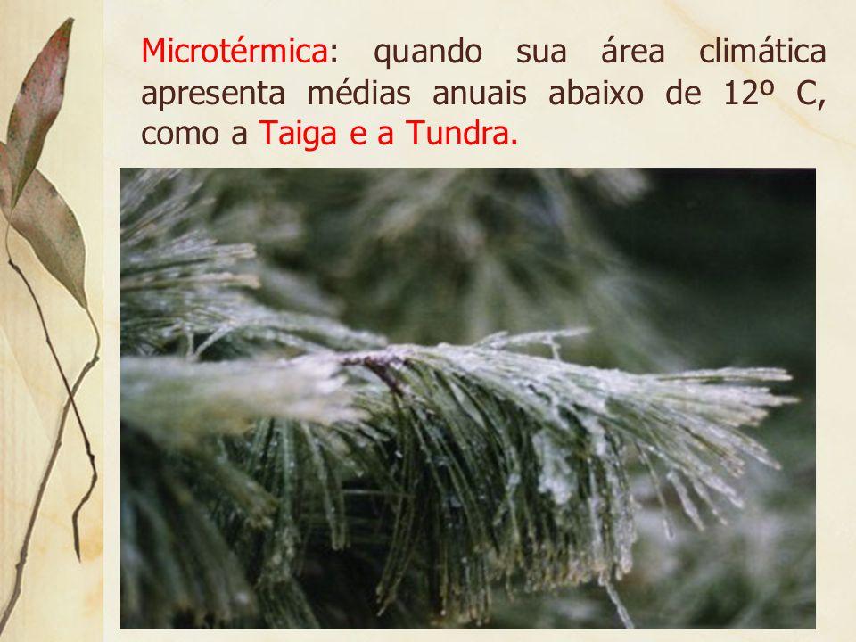 Microtérmica: quando sua área climática apresenta médias anuais abaixo de 12º C, como a Taiga e a Tundra.