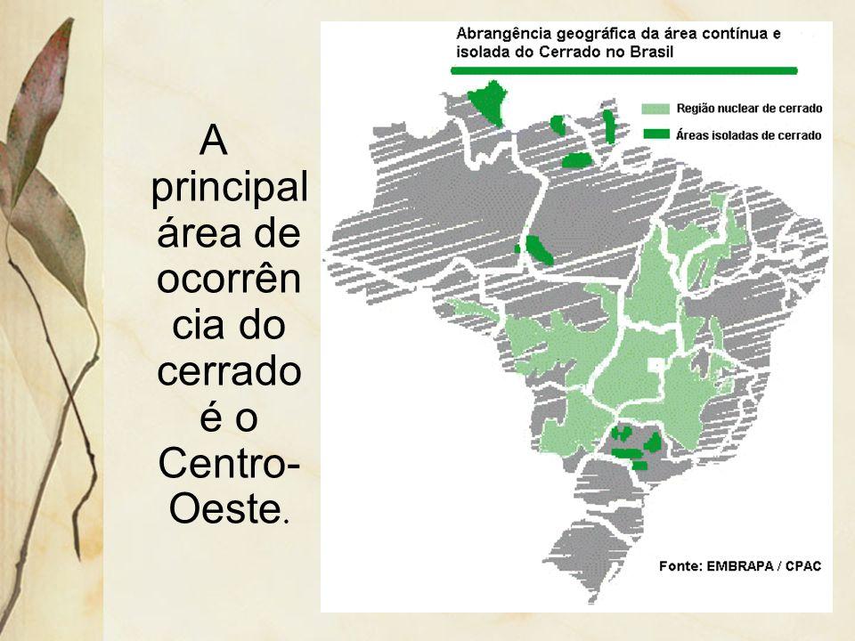 A principal área de ocorrência do cerrado é o Centro-Oeste.