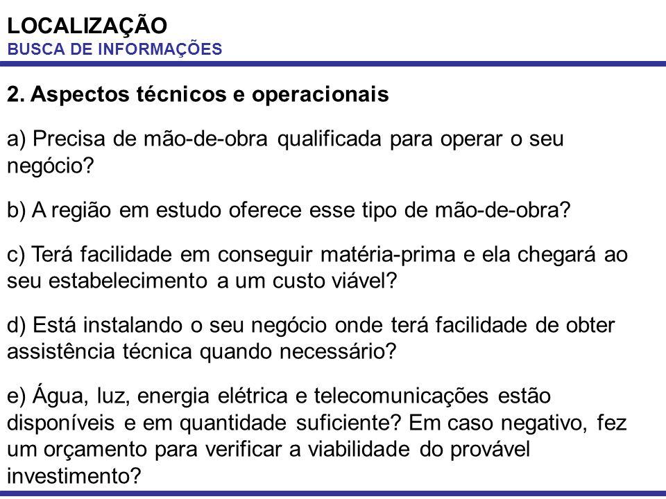 2. Aspectos técnicos e operacionais