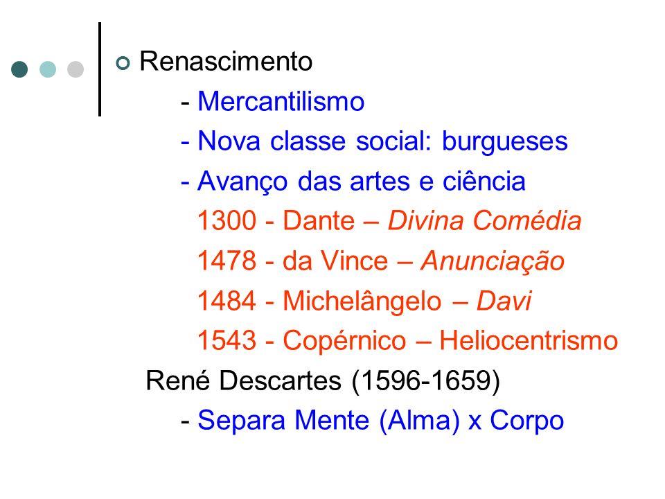 Renascimento - Mercantilismo. - Nova classe social: burgueses. - Avanço das artes e ciência. 1300 - Dante – Divina Comédia.