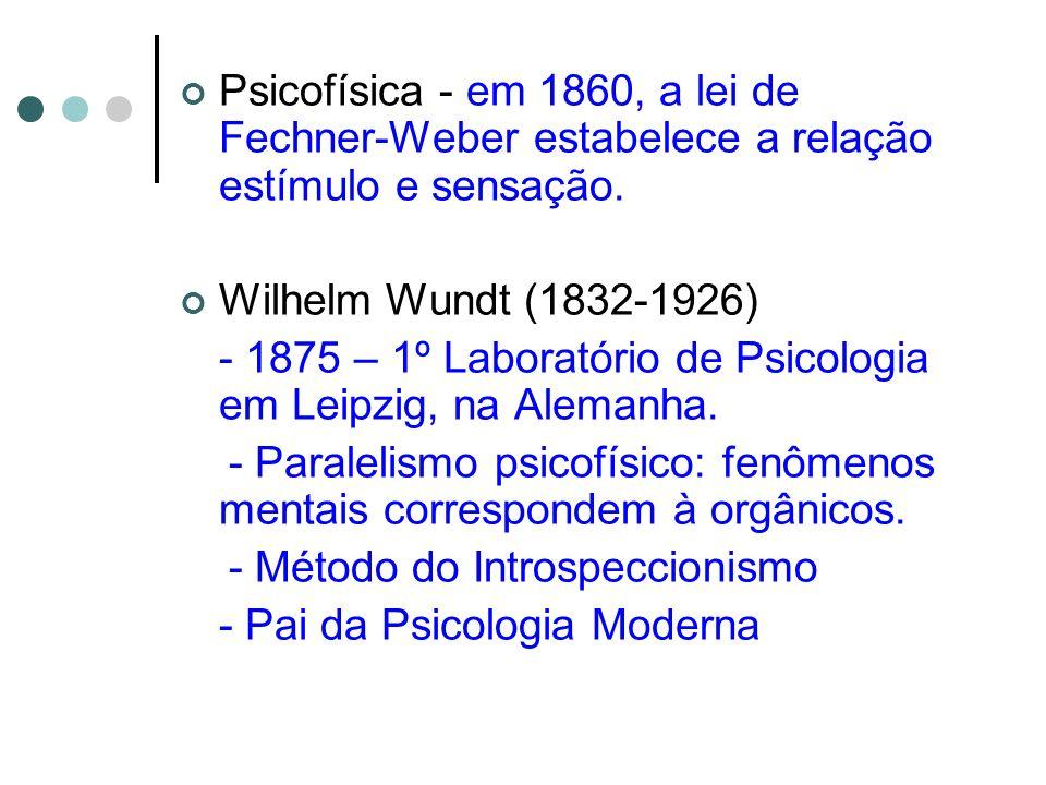 Psicofísica - em 1860, a lei de Fechner-Weber estabelece a relação estímulo e sensação.