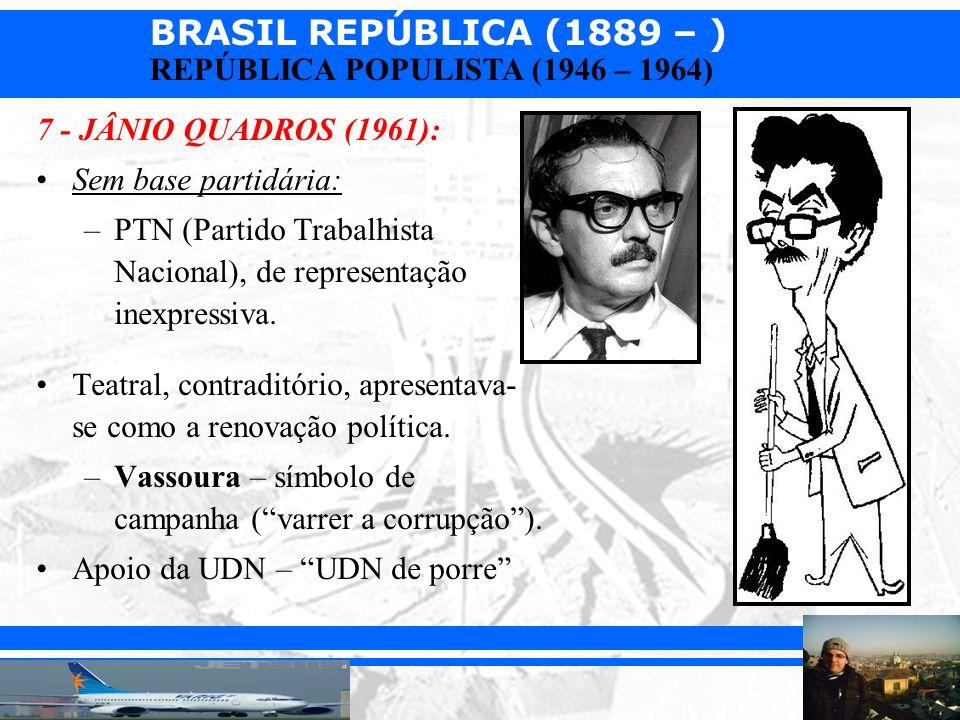 7 - JÂNIO QUADROS (1961): Sem base partidária: PTN (Partido Trabalhista Nacional), de representação inexpressiva.