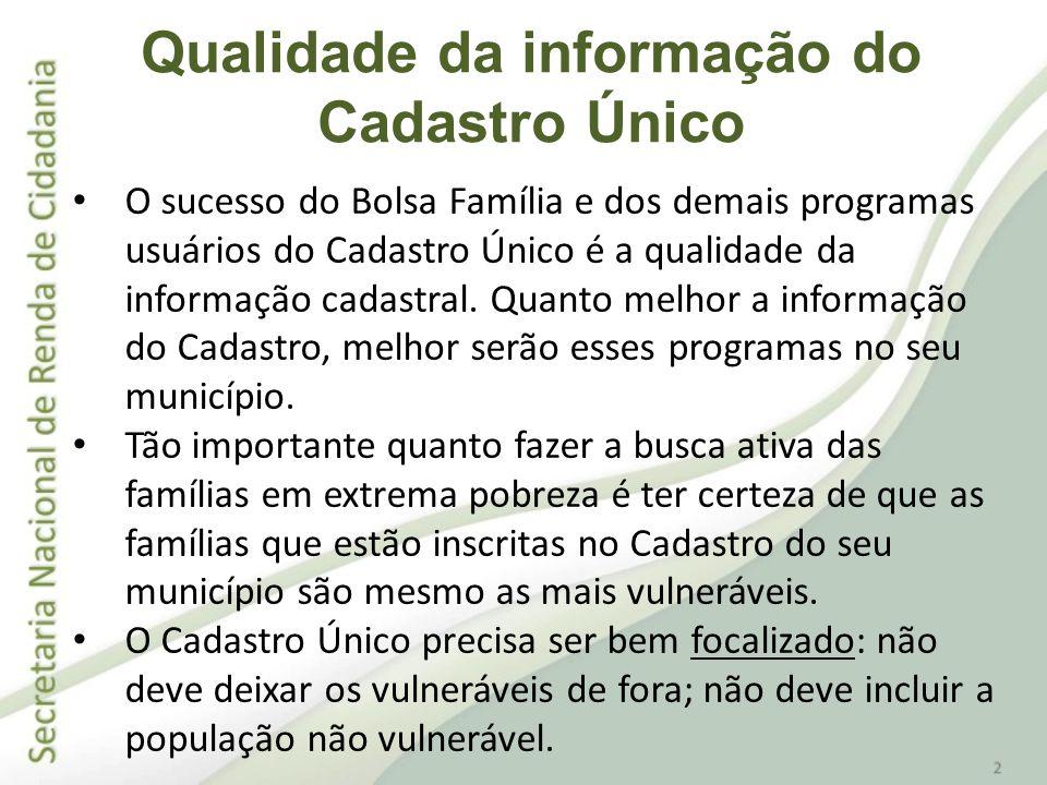Qualidade da informação do Cadastro Único