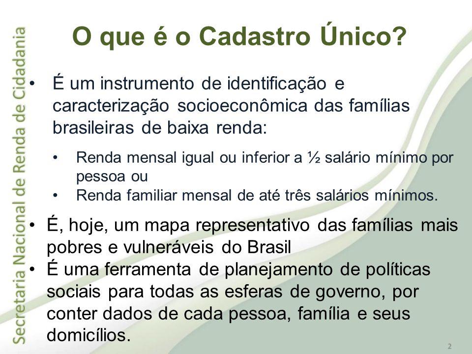 O que é o Cadastro Único É um instrumento de identificação e caracterização socioeconômica das famílias brasileiras de baixa renda: