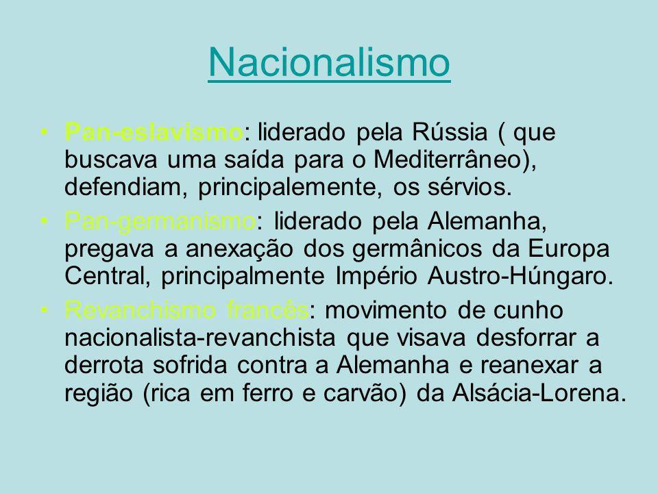 Nacionalismo Pan-eslavismo: liderado pela Rússia ( que buscava uma saída para o Mediterrâneo), defendiam, principalemente, os sérvios.