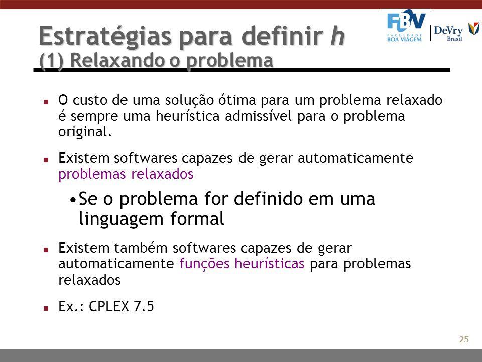 Estratégias para definir h (1) Relaxando o problema