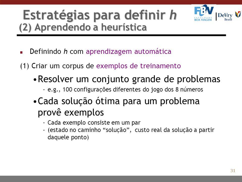 Estratégias para definir h (2) Aprendendo a heurística