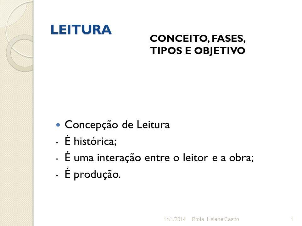 LEITURA Concepção de Leitura É histórica;