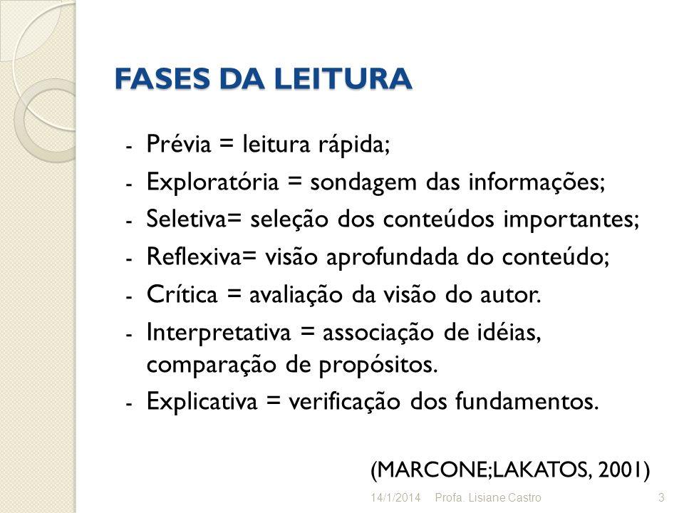 FASES DA LEITURA Prévia = leitura rápida;