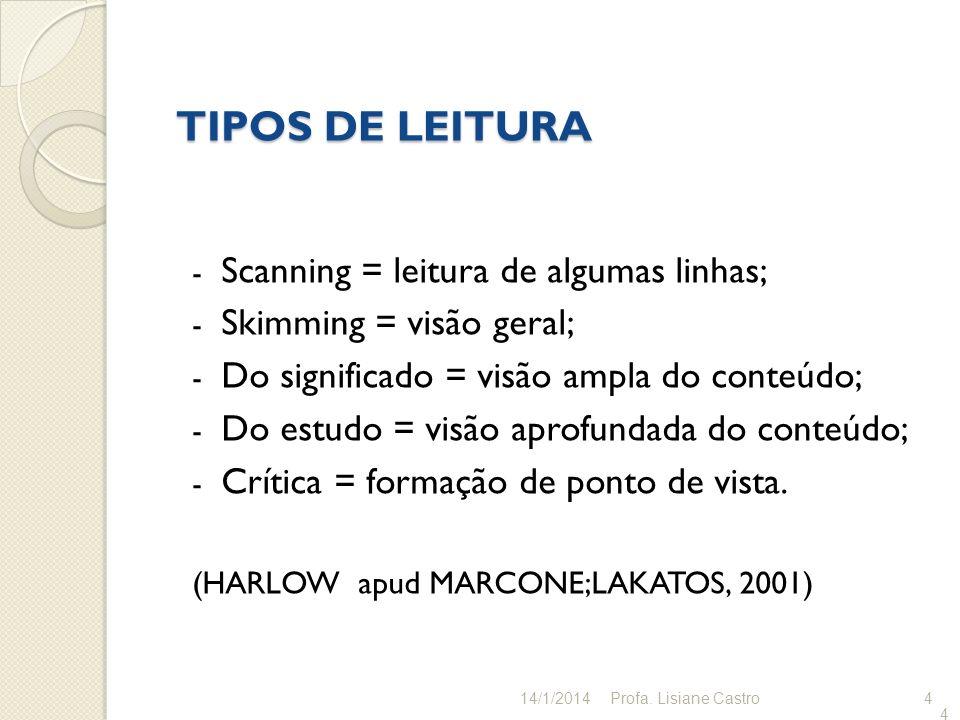 TIPOS DE LEITURA Scanning = leitura de algumas linhas;