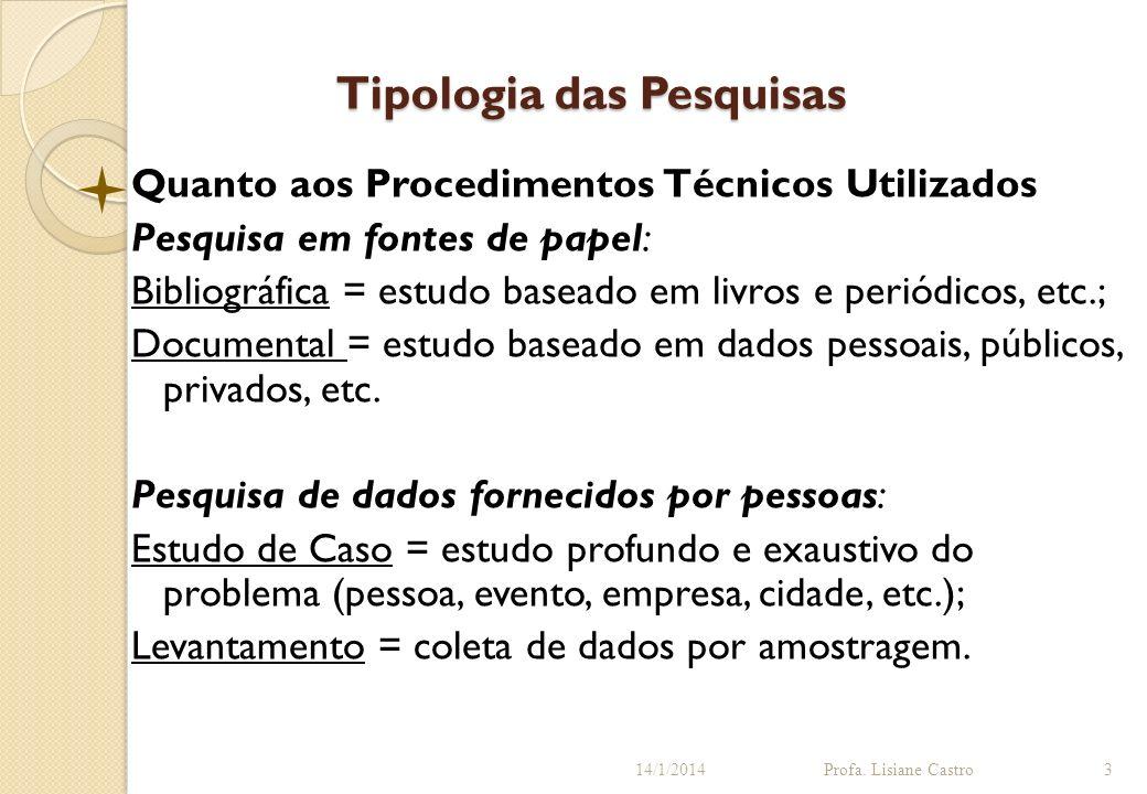 Tipologia das Pesquisas