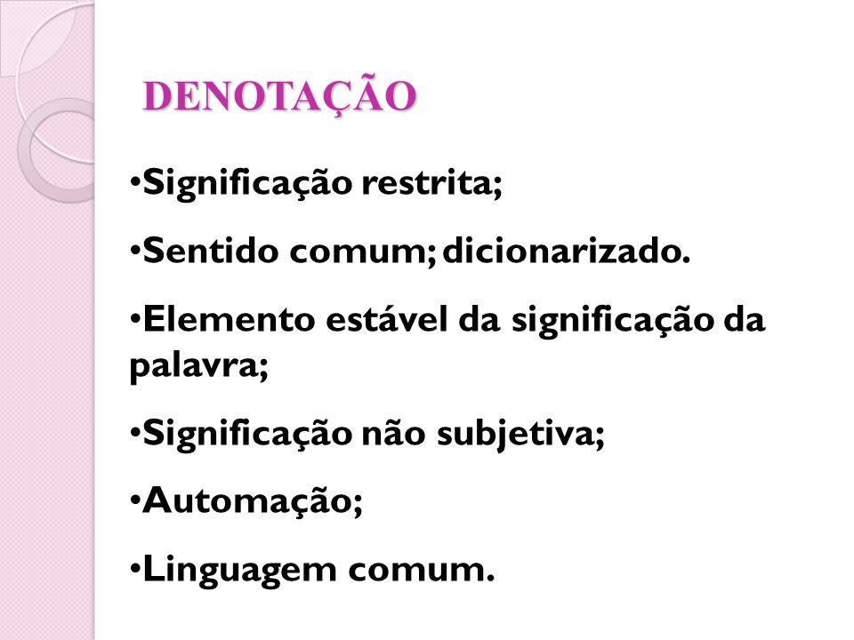DENOTAÇÃO Significação restrita; Sentido comum; dicionarizado.