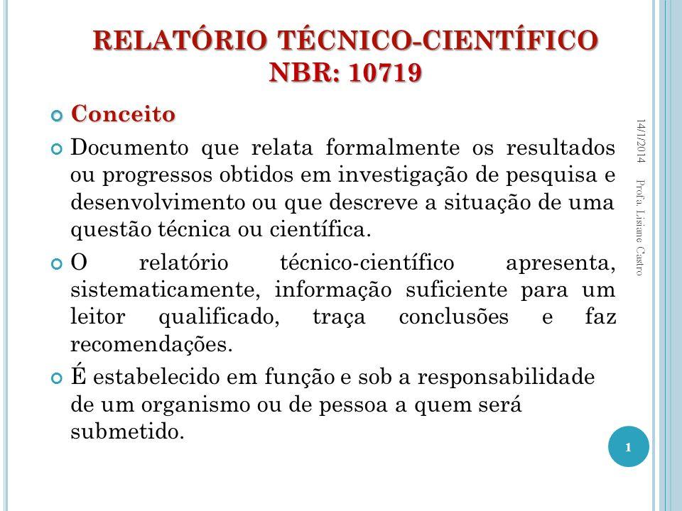RELATÓRIO TÉCNICO-CIENTÍFICO NBR: 10719