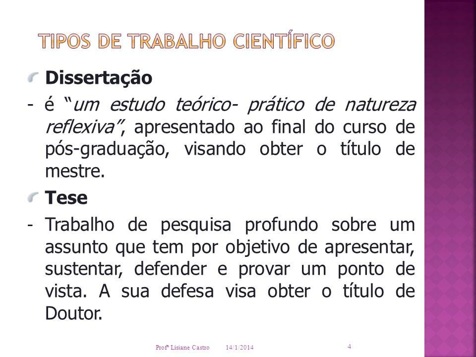 TIPOS DE TRABALHO CIENTÍFICO